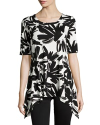 Neiman Marcus Floral Brushstroke Jersey Tee Black White