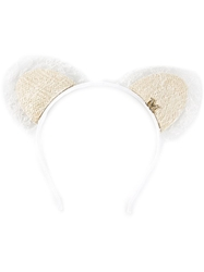Maison Michel 'Heidi Lace Cat Ears' Headband White