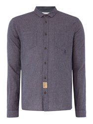 Label Lab Joe Mini Check Long Sleeve Shirt Navy