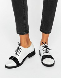 Daisy Street Bow Pearl White Lace Up Flat Shoes Pearl White Black