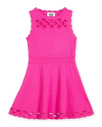 Milly Minis Scalloped Laser Cut Fit And Flare Dress Fuchsia Pink