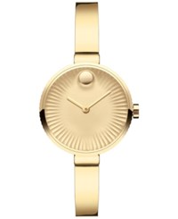 Movado Women's Swiss Edge Gold Tone Ion Plated Stainless Steel Bangle Bracelet Watch 28Mm 3680021