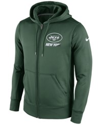 Nike Men's New York Jets Sideline Ko Fleece Full Zip Hoodie Green White