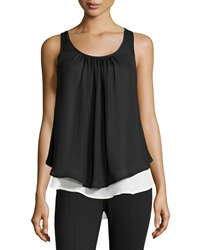 P. Luca Colorblock Layered Top Black White