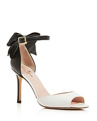 Kate Spade New York Izzie High Heel Ankle Strap Bow Pumps White Black