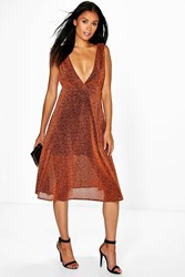Boohoo Metallic Plunge Neck Skater Dress Rust