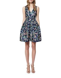 Erin Fetherston Floral Print Fit And Flare Dress Navy Multi