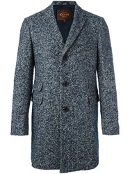 Tod's Herringbone Tweed Coat Blue