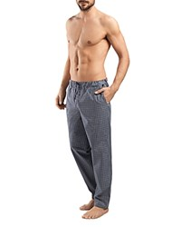 Hanro Night And Day Check Print Cotton Lounge Pants Grey Check