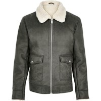 River Island Mens Grey Shearling Collar Jacket
