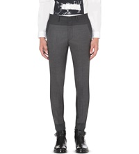 Mcq By Alexander Mcqueen Panelled Tapered Leg Suit Trousers Dark Light Grey Mel