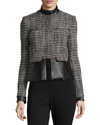 Catherine Catherine Malandrino Faux Leather Trim Tweed Jacket Black White