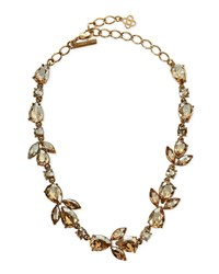 Oscar De La Renta Bold Crystal Teardrop Necklace Golden Gold