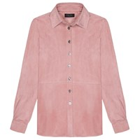 Veil London Baby Pink Suede Shirt Pink Purple