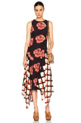 Suno Fwrd Exclusive Long Asymmetrical Dress In Floral Red Black Geometric Print