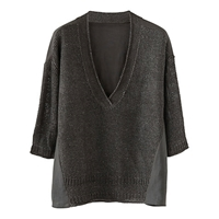 Poetry Linen Knitted Top Charcoal