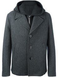 Neil Barrett Hooded Peacoat Grey