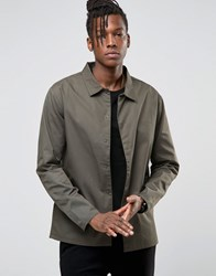 Only And Sons Light Weight Jacket With Concealed Placket Khaki Green