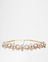 New Look Botanical Gem Chain Belt Gold