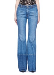 Alexander Mcqueen Contrast Wash Flared Denim Pants Blue
