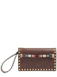 Valentino Rockstud Embossed Leather Clutch