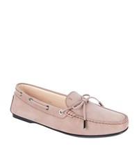 Tod's Gomma Nubuck Grain Driving Shoe Female Taupe