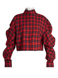 A.W.A.K.E. High Neck Plaid Cotton Top Red Multi
