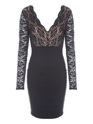 Jane Norman Black Long Sleeve Lace Bandage Dress