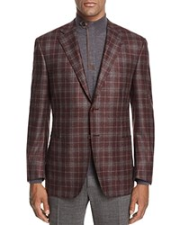 Canali Plaid Classic Fit Sport Coat Burgundy