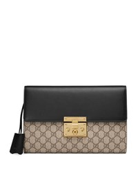 Gucci Padlock Gg Supreme Clutch Bag Black Beige Gg W Black