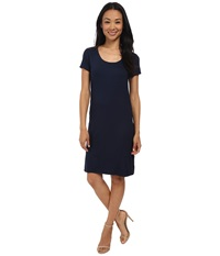 Three Dots Short Sleeve Double Slit Dress Night Iris Women's Dress Navy