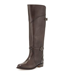 Coach Dorado Polished Leather Riding Boot Dark Gray