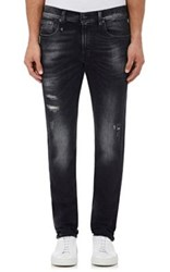 R 13 R13 Men's Skate Distressed Skinny Jeans Black