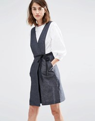 Warehouse Linen Mix Wrap Front Dress Gray