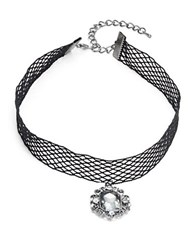 Design Lab Lord And Taylor Woven Mesh Choker Necklace Black