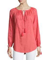 Nanette Lepore Long Sleeve Knit Peasant Tunic Coral