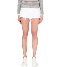 Rag And Bone Distressed Mid Rise Denim Shorts White Freeport