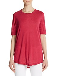 Vince Elbow Length Sleeve Knit Tee Cerise
