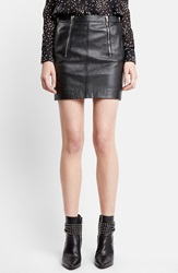 Saint Laurent Zip Detail Lambskin Leather Miniskirt Black
