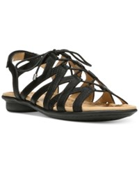 Naturalizer Whimsy Lace Up Flat Sandals Women's Shoes Black