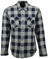 Levi's Men's Seattle Seahawks Plaid Barstow Western Long Sleeve Shirt Blue