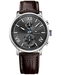 Tommy Hilfiger Men's Sophisticated Sport Brown Leather Strap Watch 44Mm 1791309