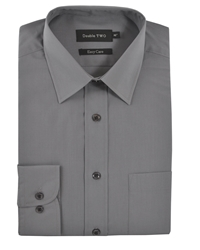 Double Two Classic Plain Long Sleeve Shirt Grey