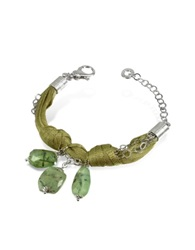 Daco Milano Green Gemstone Drops Multi Strand Sterling Silver Lace Bracelet
