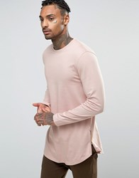 Asos Super Longline Long Sleeve T Shirt With Curve Hem And Zip In Pink Pink