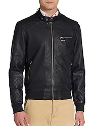 Members Only Faux Leather Quilted Moto Jacket Black