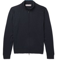 Canali Melange Wool Zip Up Sweater Navy