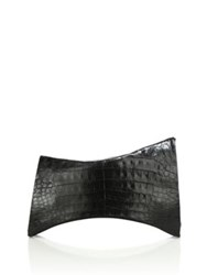 Nancy Gonzalez Angular Crocodile Clutch Black
