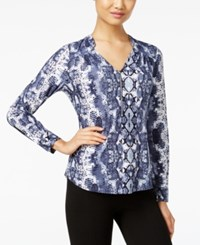 Inc International Concepts Petite Front Zip Printed Blouse Only At Macy's Diamond Python
