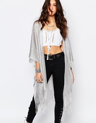 Stitch And Pieces Metallic Knitted Sheer Kimono Silver